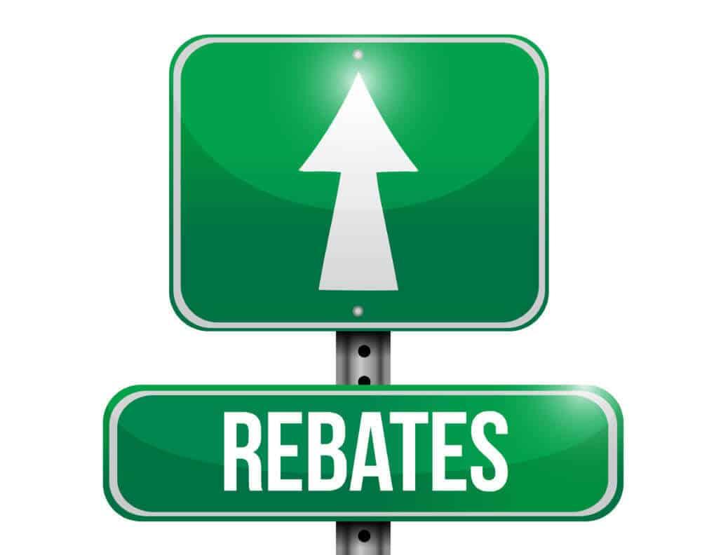 Rebates street sign