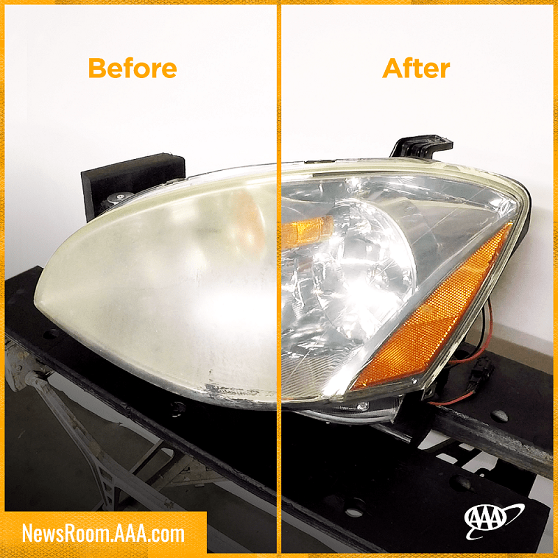 Headlights before and after cleaning