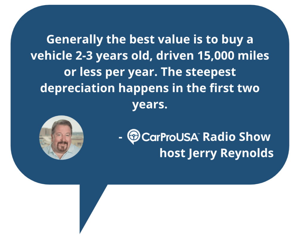 Generally the best value is to buy a vehicle 2-3 years old, driven 15,000 miles or less per year. The steepest depreciation happens in the first two years. - CarProUSA Radio Show host Jerry Reynolds