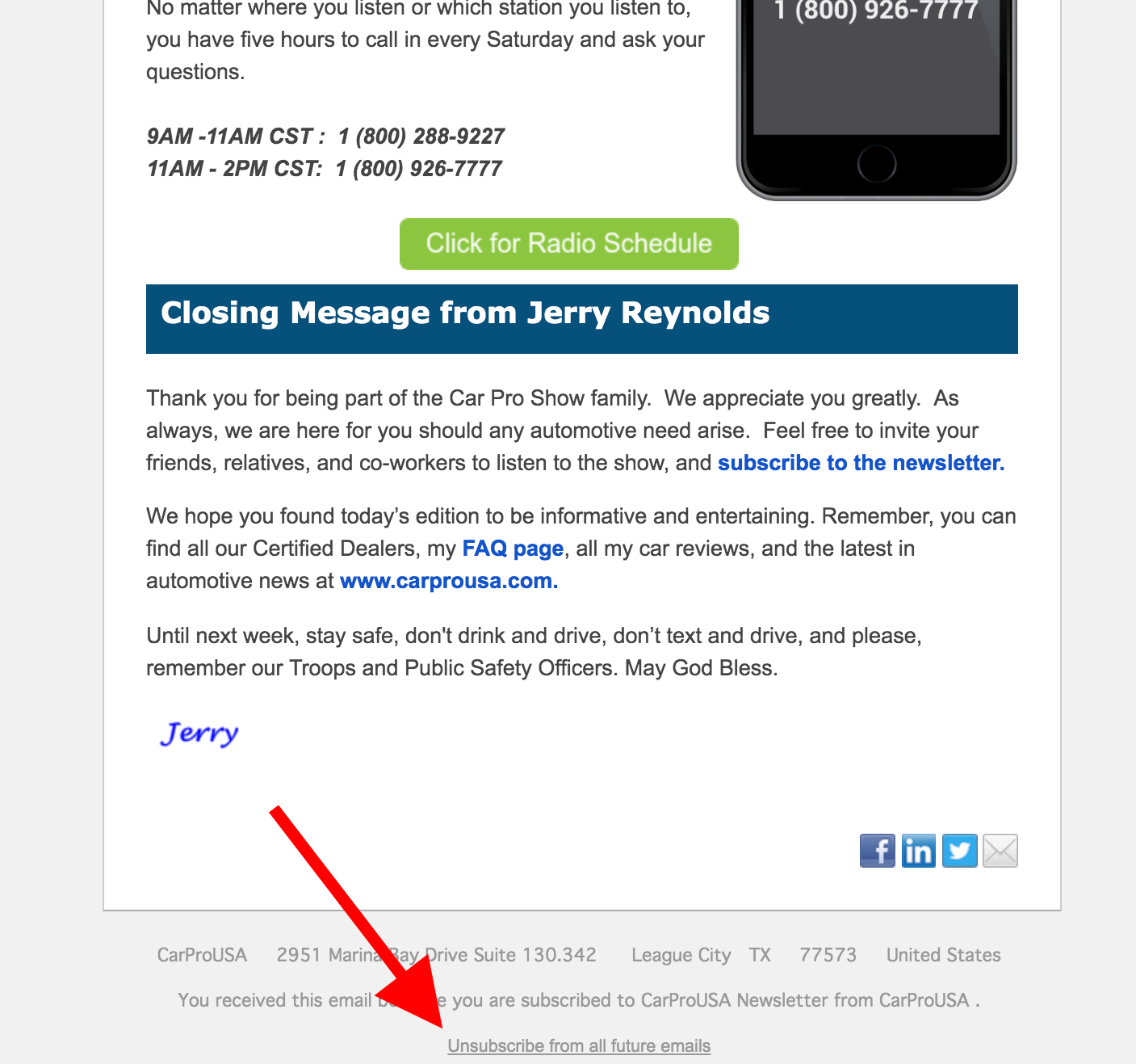 Unsubscribe from the CarProUSA National Newsletter