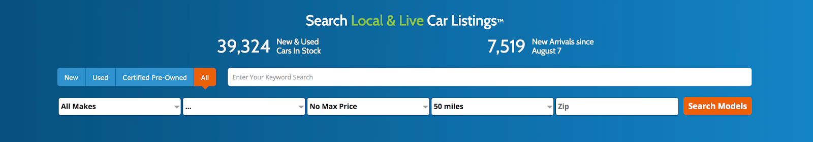 Search Local & Live Car Listings