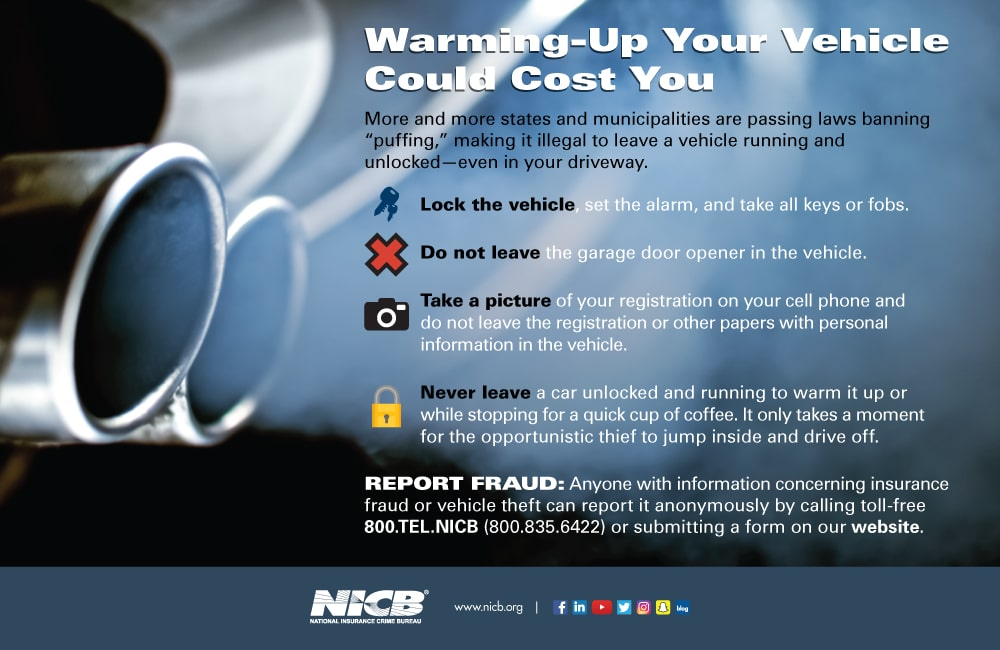 Warming-up your vehicle could cost you