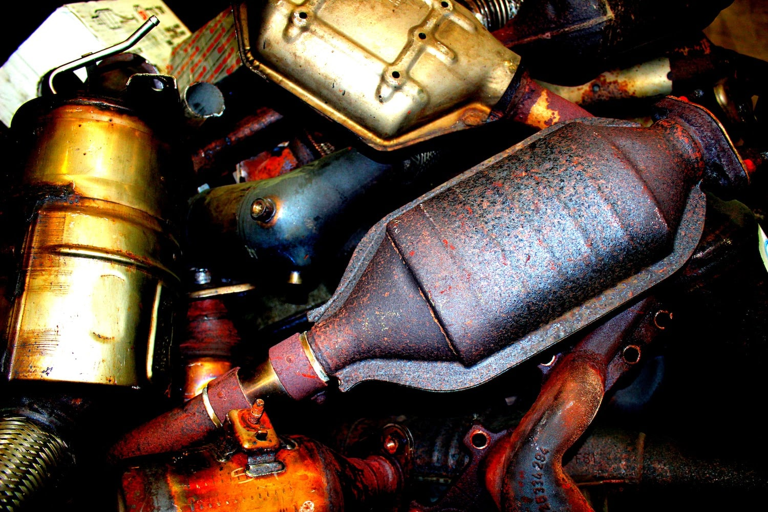 Pile of catalytic converters